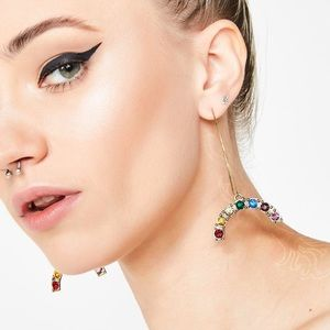 Dolls Kill Rainbow Rhinestone Dangle Hoop Earrings